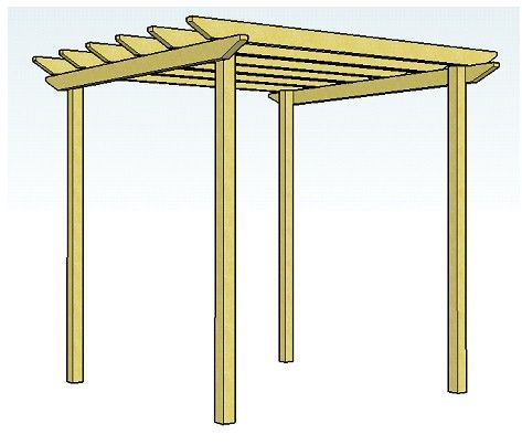Copyright image Simple pergola design 2 with unnotched rafters - garden arbor plans designs