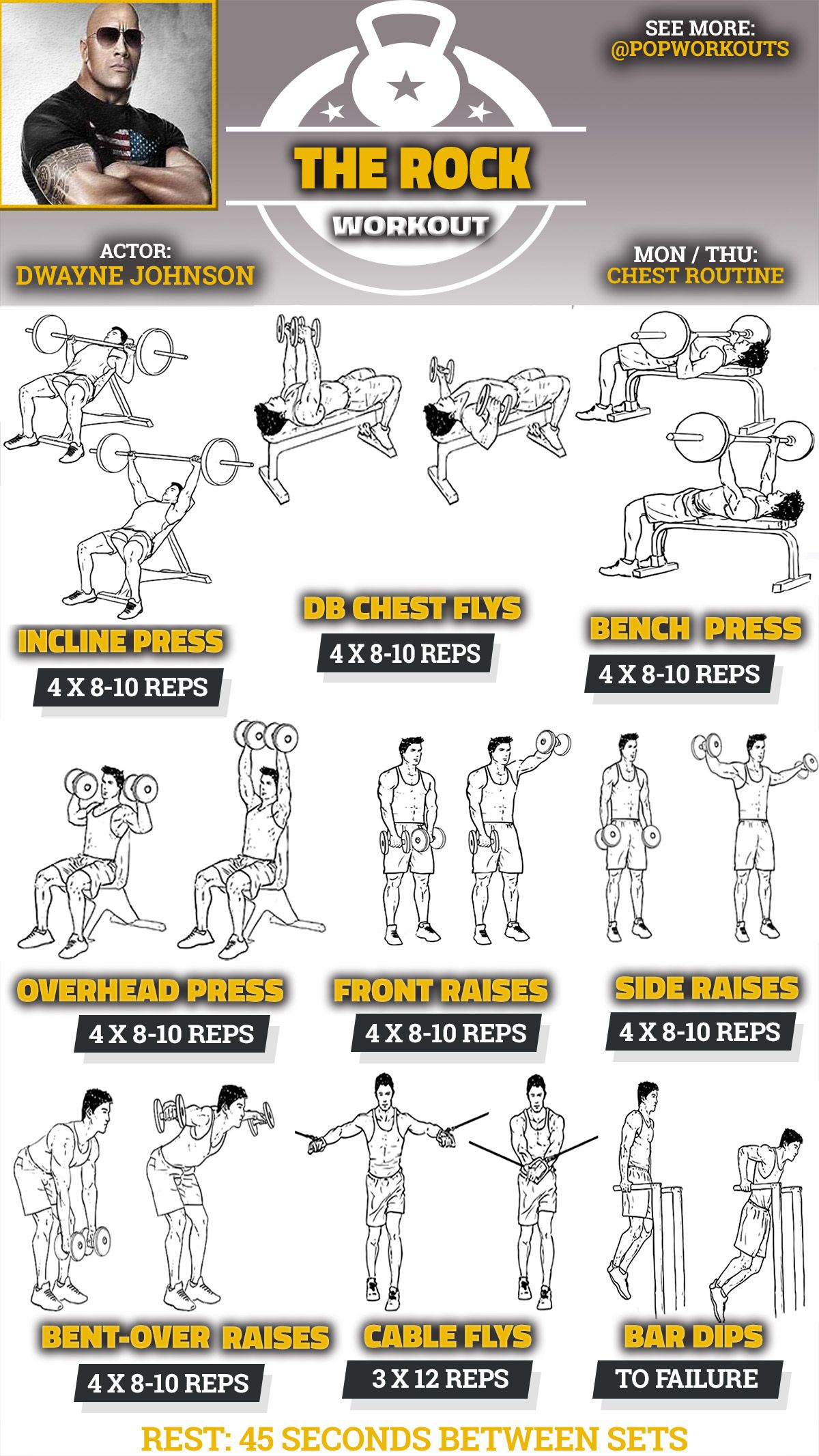 Gym Workout Chart For Chest For Men The Dwayne Johnson Chest Workout Builds The Rocks Massive