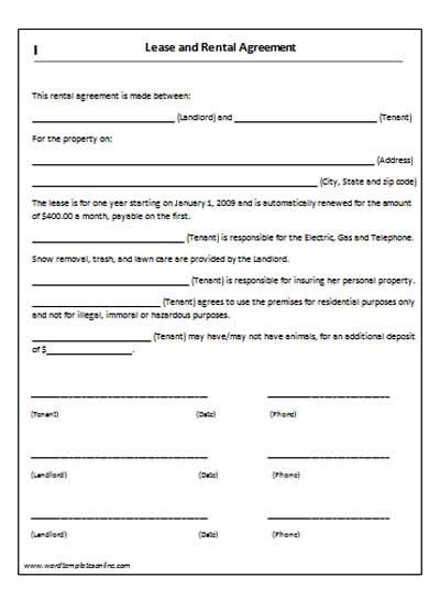 House Lease Agreement Template Lease Agreement Template - lease agreement form