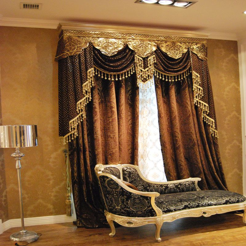 Luxury europe 2013 fashion classical style elegant chenille silver - valances for living room