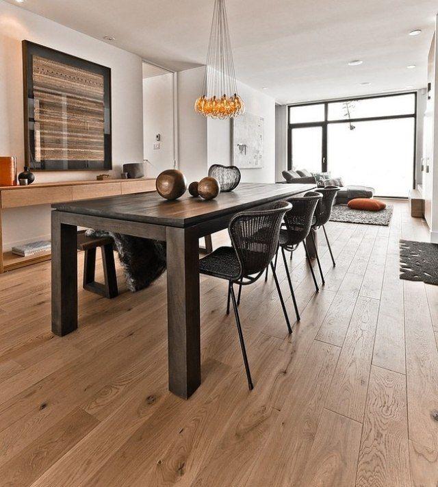 Esszimmer Boden Gestaltung Holz-Belag Tisch-Essraum Stühle - esszimmer aus holz