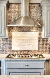 Chrome Stainless Steel Vent Hood: Painted Kitchen Cabinets ...