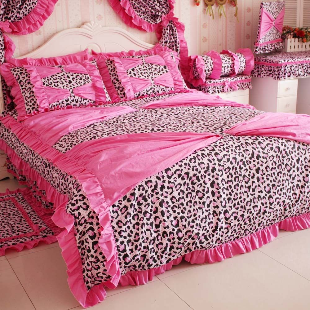 Super dream leopard printed bedding set 4 piece set princess comforter bed queen size in