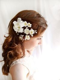 white flower hair clip, wedding hair accessories