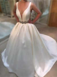 Deep V Neck White Satin Ball Gowns Wedding Dresses 2016