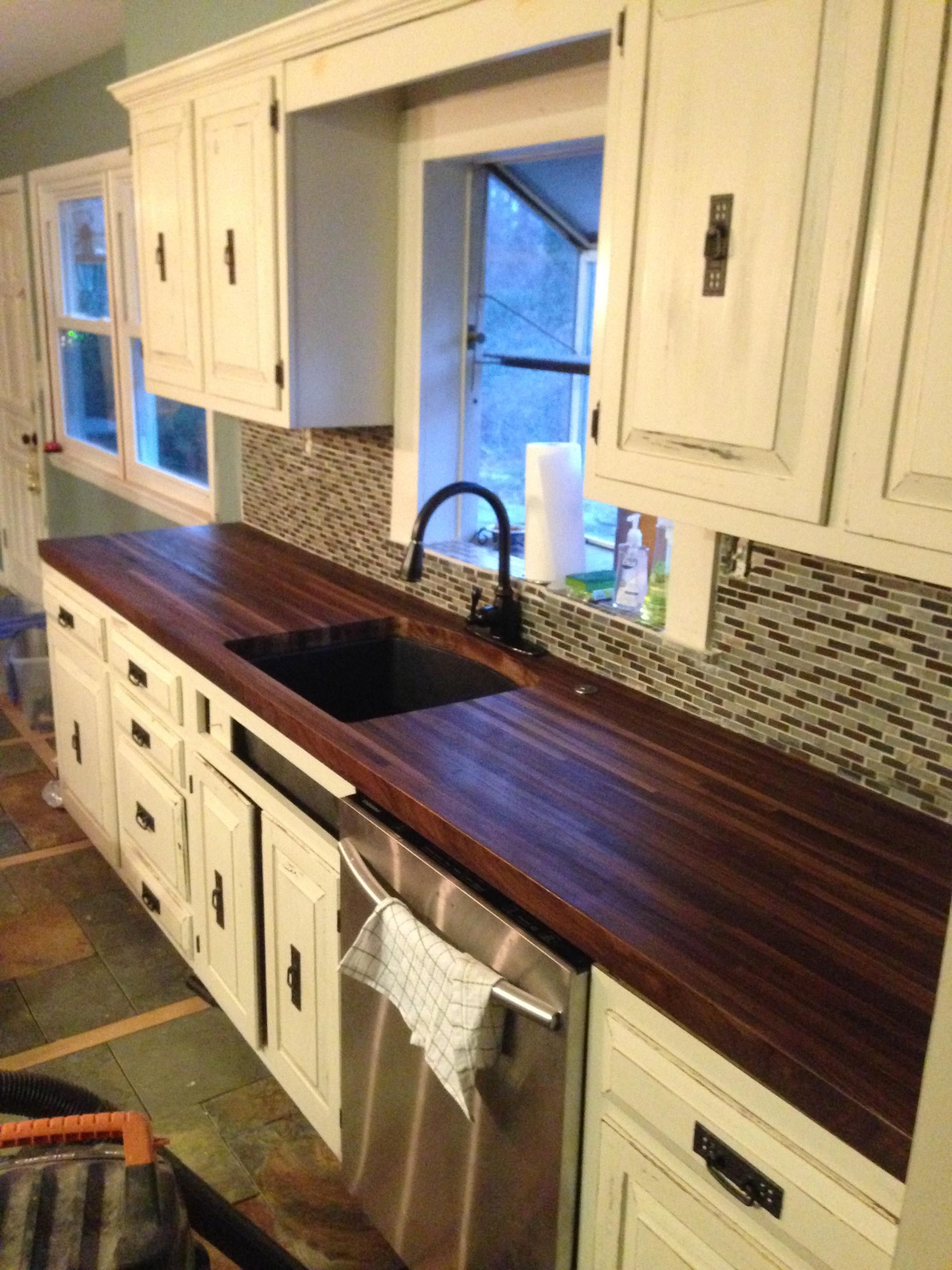 Replace Formica Countertop Built A Pair Of Black Walnut Butcher Block Countertops To