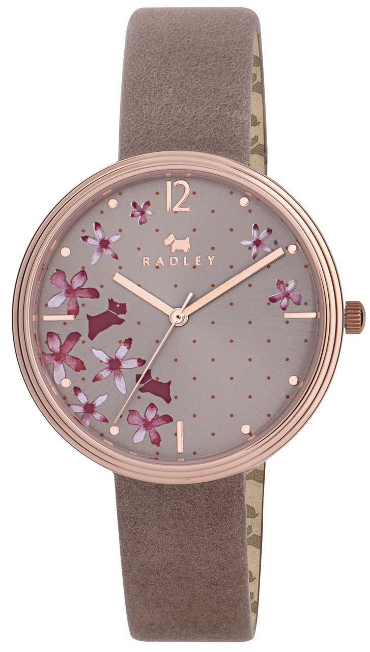 Radley ladies floral dial pink leather strap watch ry2314