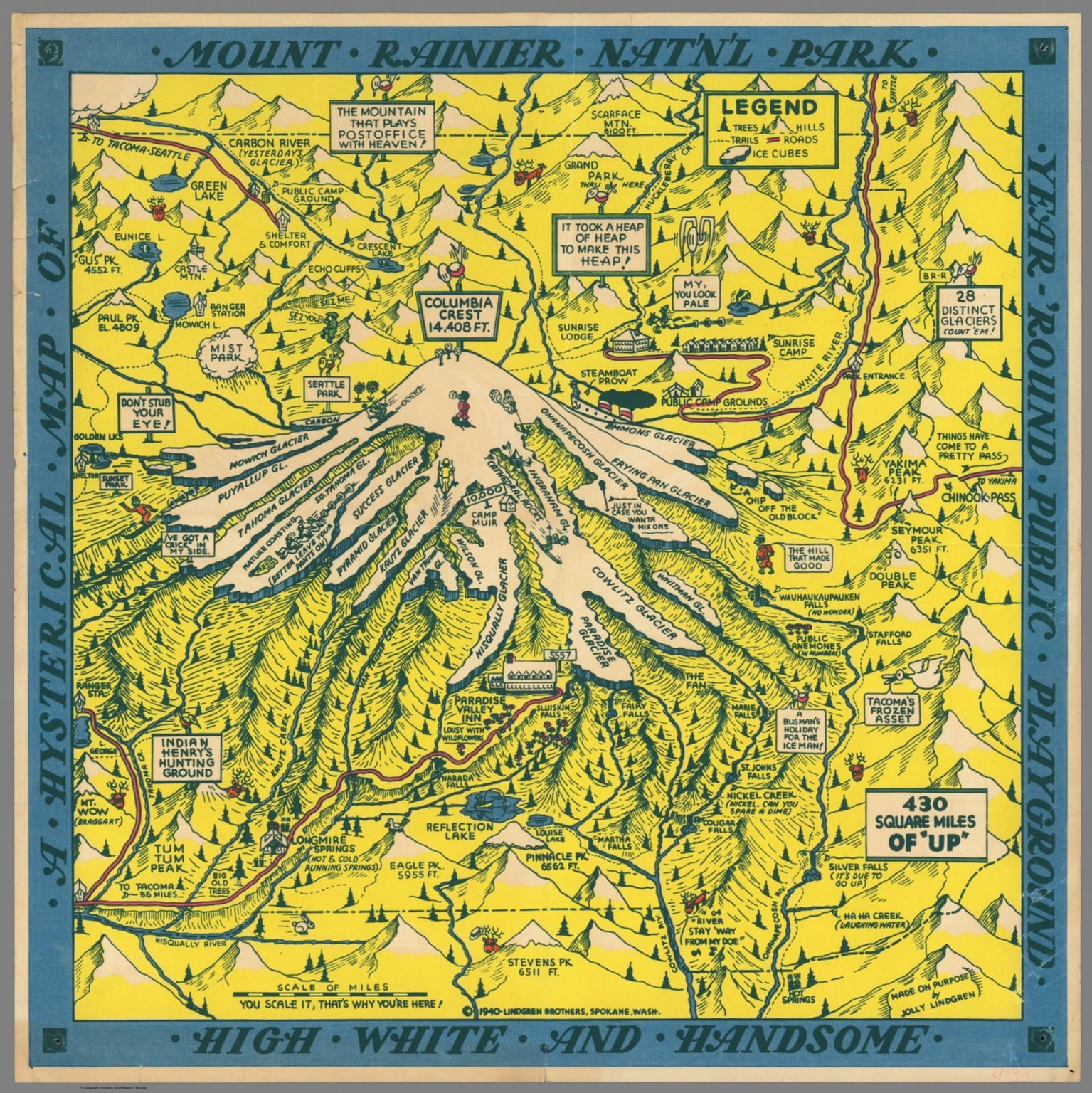 Miles And More Schweiz A Hysterical Map Of Mount Rainier National Park Year Around