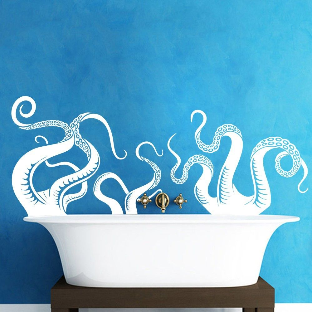 Large size octopus tentacles vinyl wall art sea monster kraken squid bathroom doorway shower bathtub wall