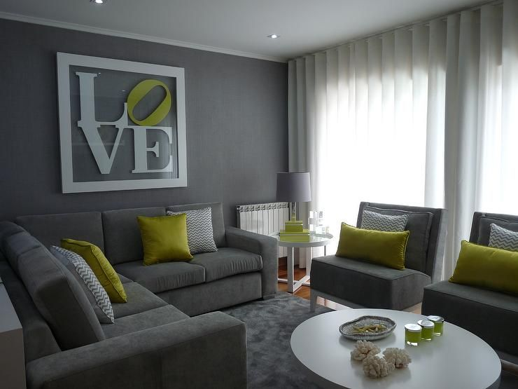 15 Lovely Grey and Green Living Rooms Living room grey, Grey - grey sofa living room ideas