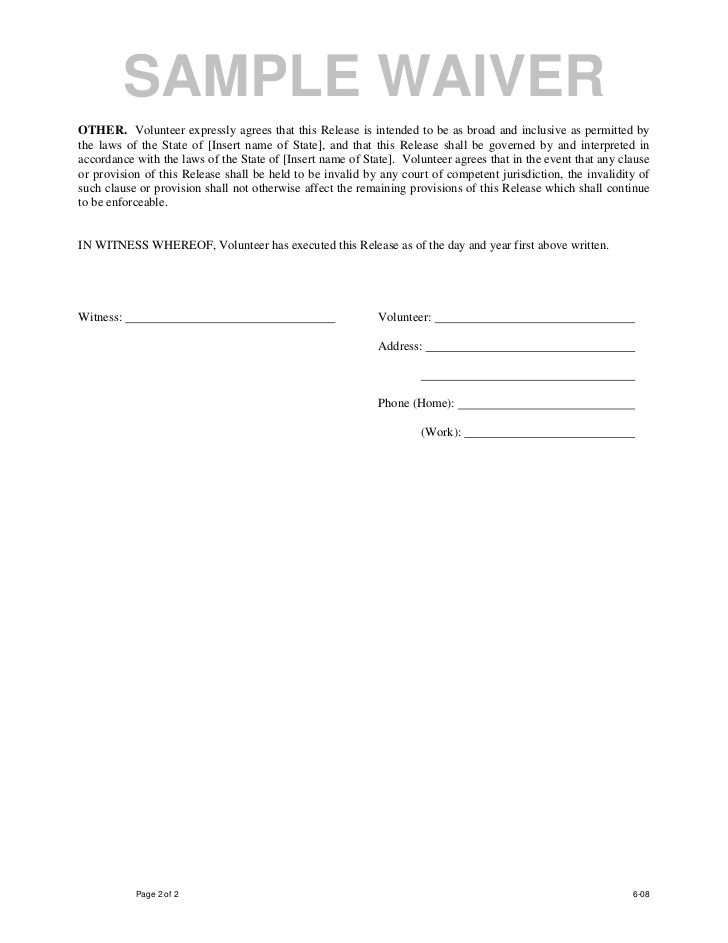 Printable Sample Liability Waiver Form Template Form Laywers - liability contract template