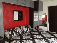 Red black gray bedroom