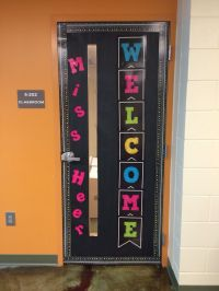 Black and neon classroom door   Education Ideas ...