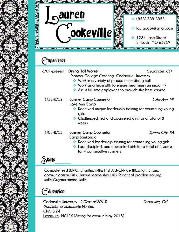 My resume design in damask and turquoise Buy the template for - buy resume templates