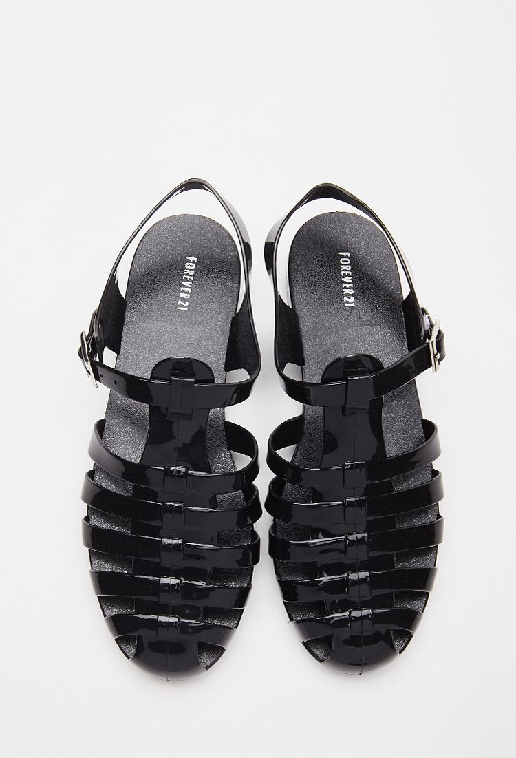 Caged jelly sandals forever21