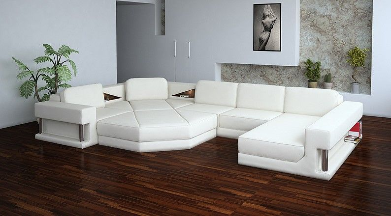 sectional contemporary sofa Tosh Furniture Modern Bonded Leather - white leather living room furniture