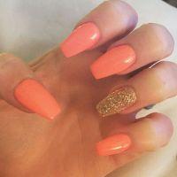 Coral nails coffin nails   Nails   Pinterest   Coral nails ...
