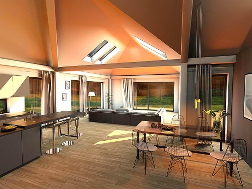 K MÄLEON Hybridhaus \/\/ Wohn  Und Essbereich Moderne Wohnzimmer   Modernes