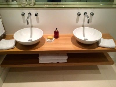 Floating Oak Twin Basin Shelf Swimming Pool Bathrooms