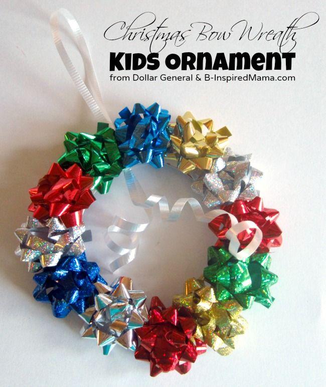 Easy Christmas Ornament - Kids Bow Wreath Ornament Craft - B - dollar general christmas decorations