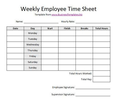 Free Printable Timesheet Templates Free Weekly Employee Time - printable employee time sheet