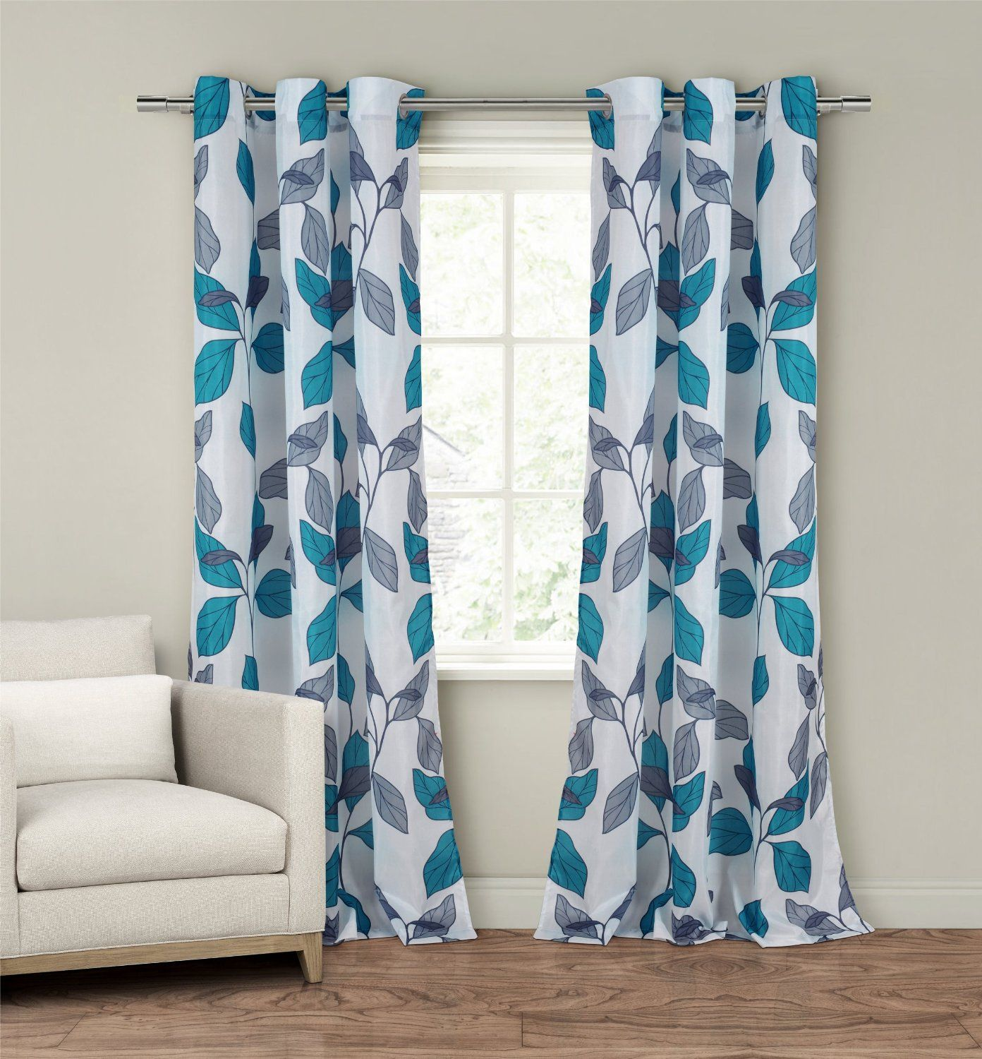 New set 2 window curtains panels drapes pair 84 faux silk gray grey blue floral in home garden window treatments hardware curtains drapes valances