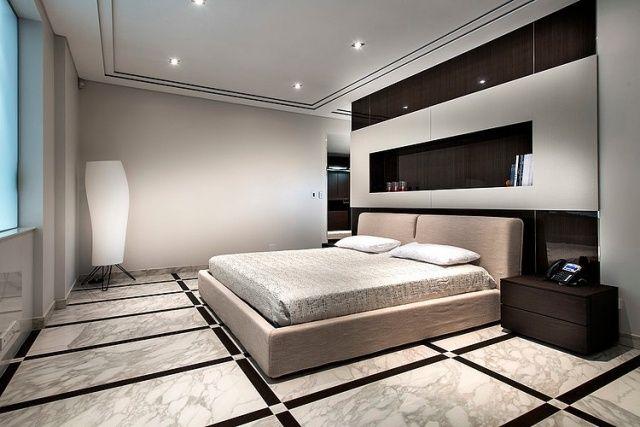 schlafzimmer modern gestalten schwarz weiß creme polsterbett - schlafzimmer creme wei