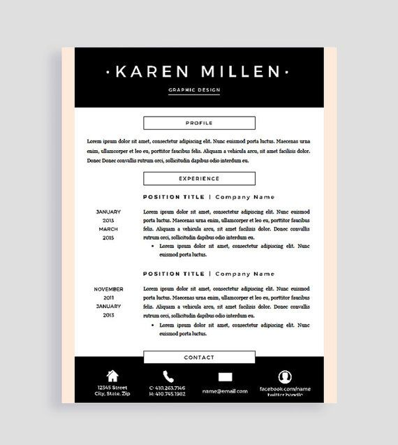 Creative Resume Template and Cover Letter for Word and Pages - mac pages resume templates