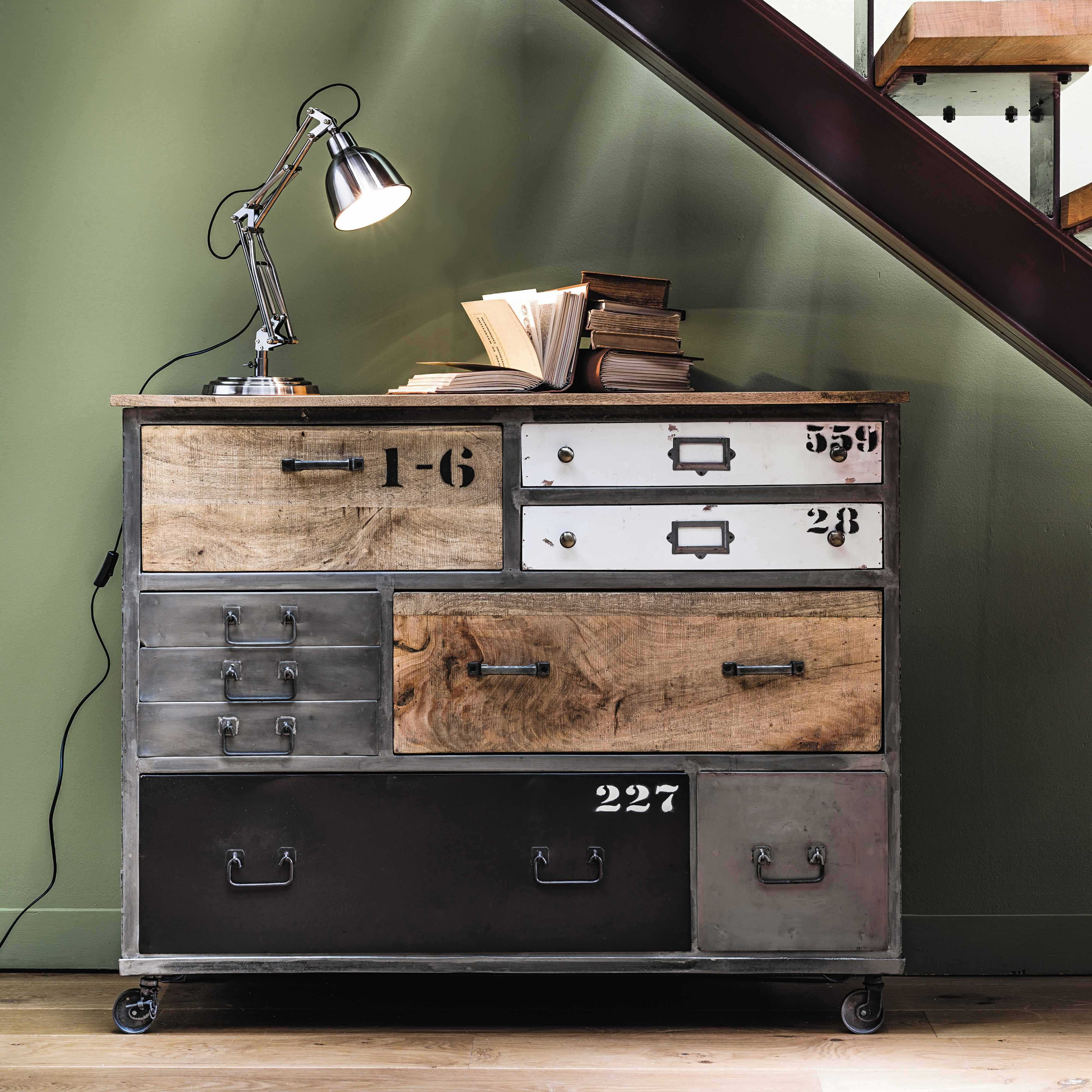 Commode Industrielle Maison Du Monde Metal Drawer Chest On Castors W 120cm Lazare Meubles