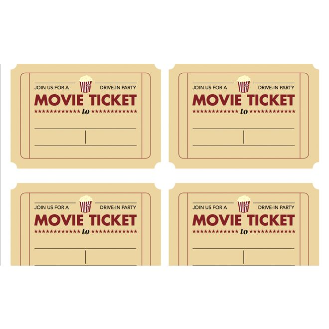 Printable movie ticket invitation from Todayu0027s Parent Kidu0027s - print your own tickets template free