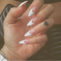White V French Tip Stiletto Nail Design | Nail Design ...