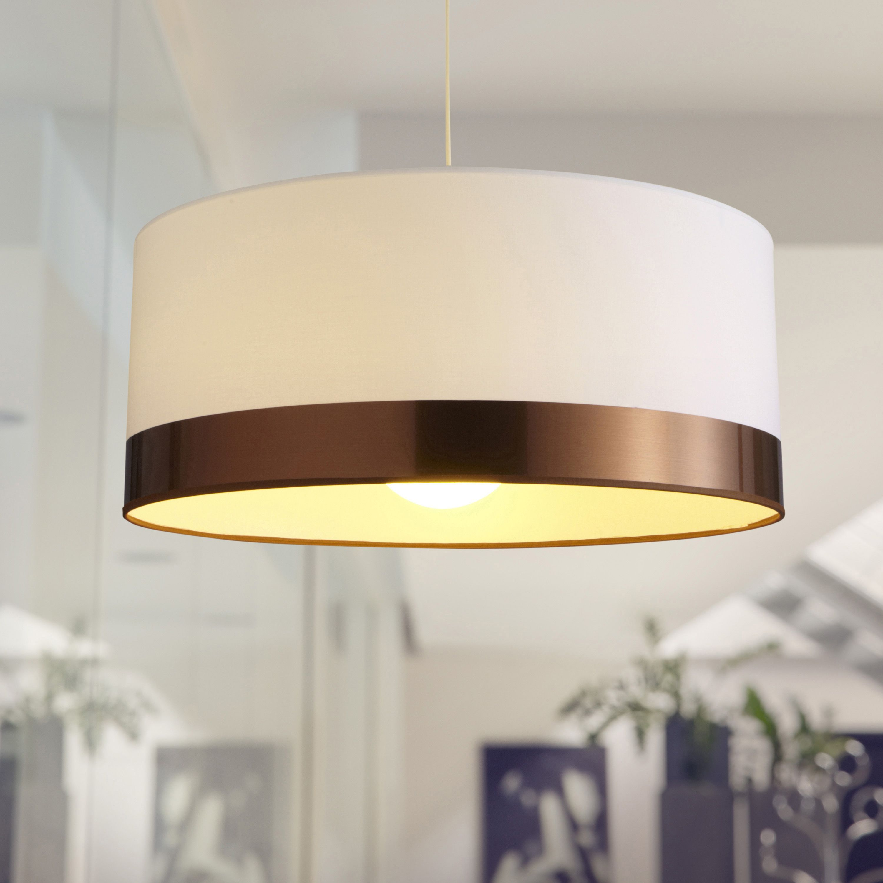 Suspension Interieur Cuivre Suspension Contemporain Copper Coton Blanc 1 X 60 W