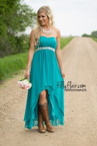The perfect country wedding bridesmaid dress with boots ...