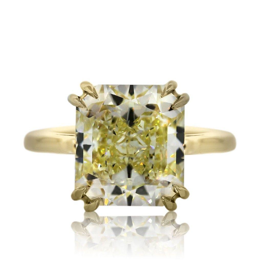 yellow gold wedding rings 7 Carat Radiant Cut Fancy Yellow Diamond Engagement Ring in Yellow Gold