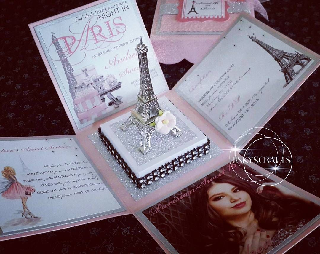 Paris Themed Exploding Box Invitations With Eiffel Tower
