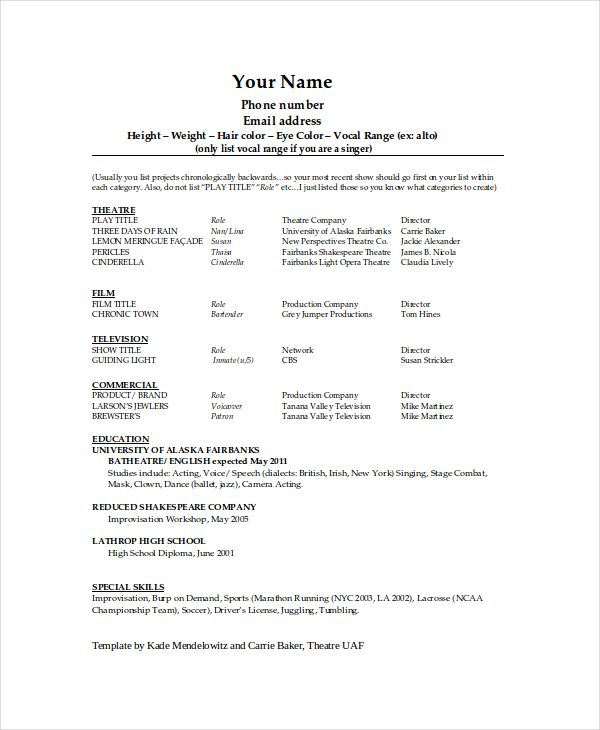 Technical Theatre Resume Template , The General Format and Tips - free templates for resume