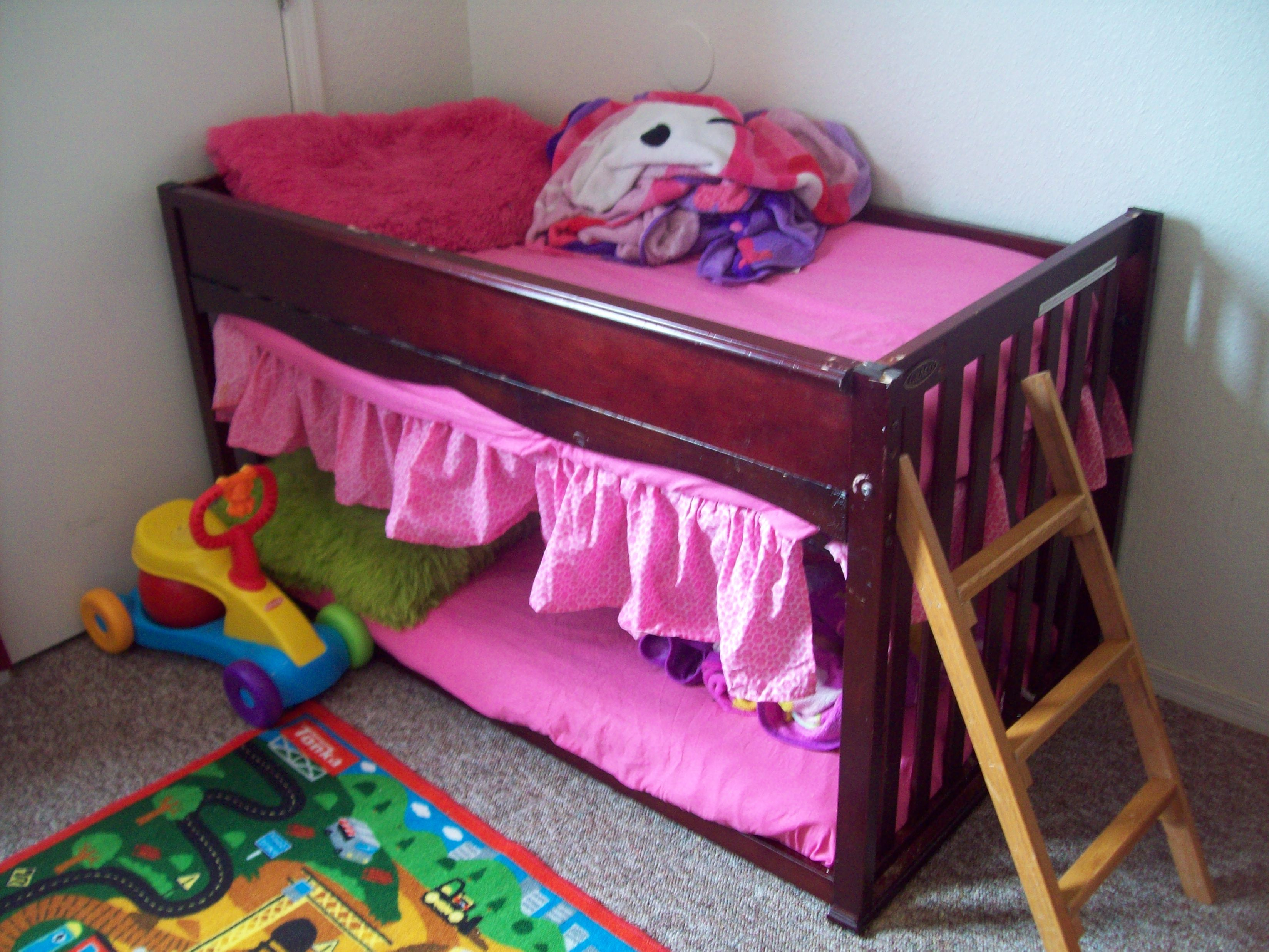 Toddler Bunks This Is A Upside Down Crib Turned Into A Toddler Bunk Bed