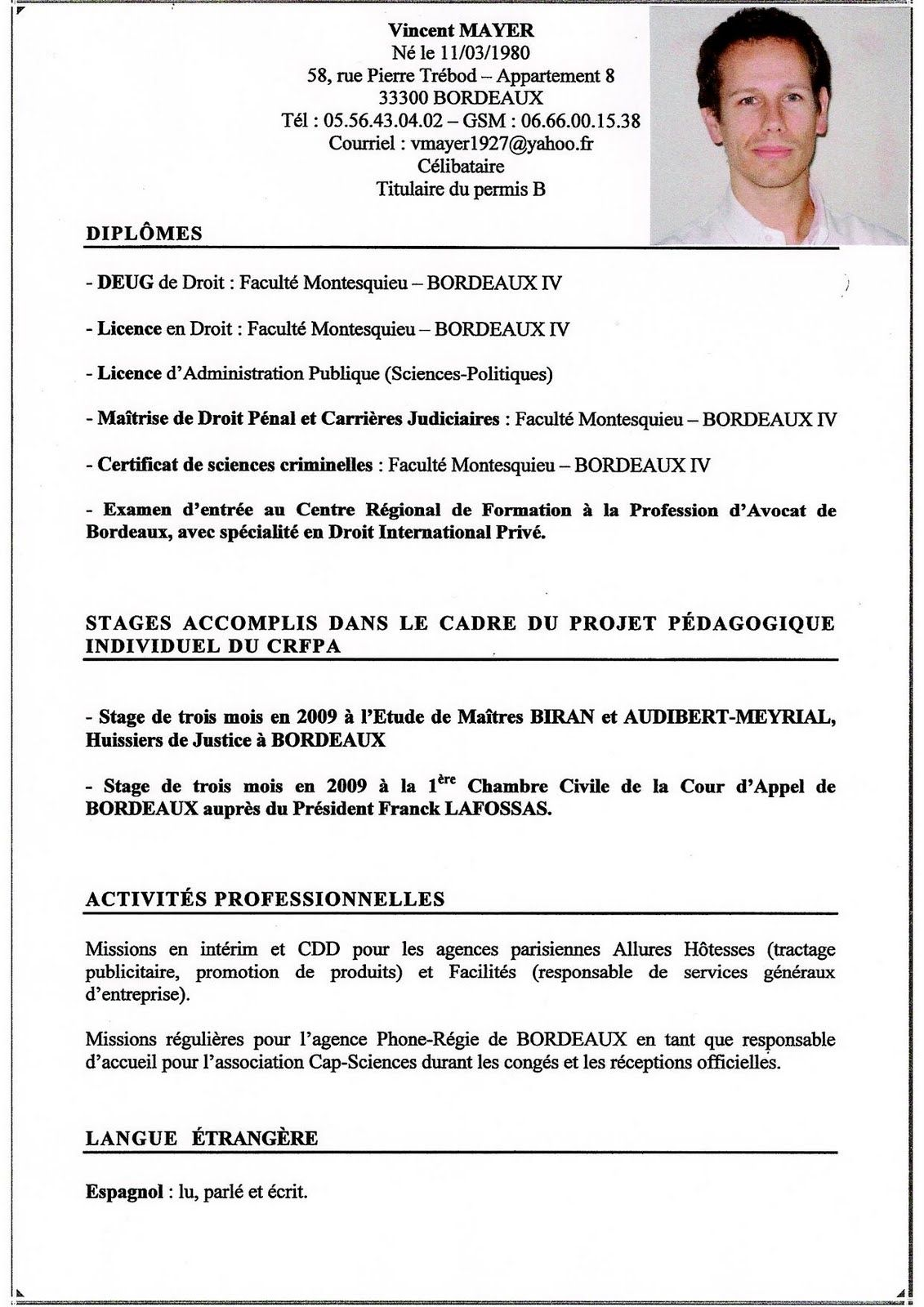 cv model avocat algerie