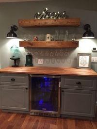 Rustic bar with IKEA cabinets and beverage center | Home ...