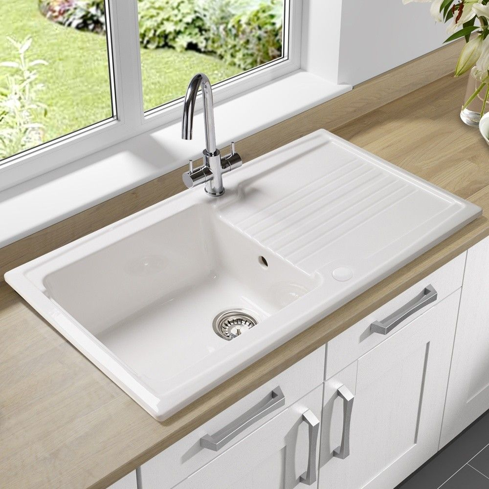 colonial kitchen sink single bowl undermount sink with drain board made of porcelain in white finish