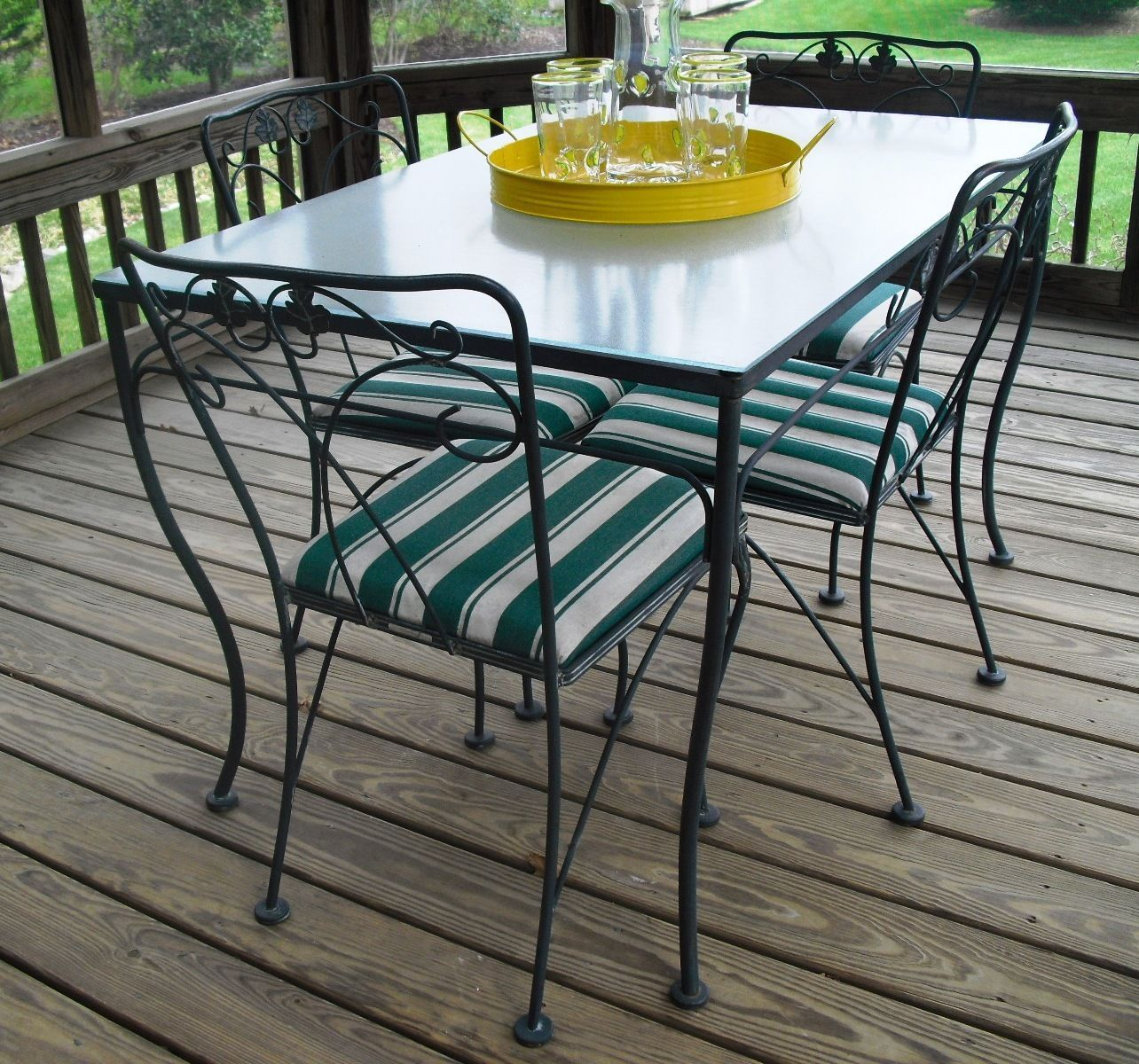 wrought iron kitchen chairs Vintage Meadowcraft Wrought Iron Glass Top Table Chairs Dining Local Pickup MD eBay