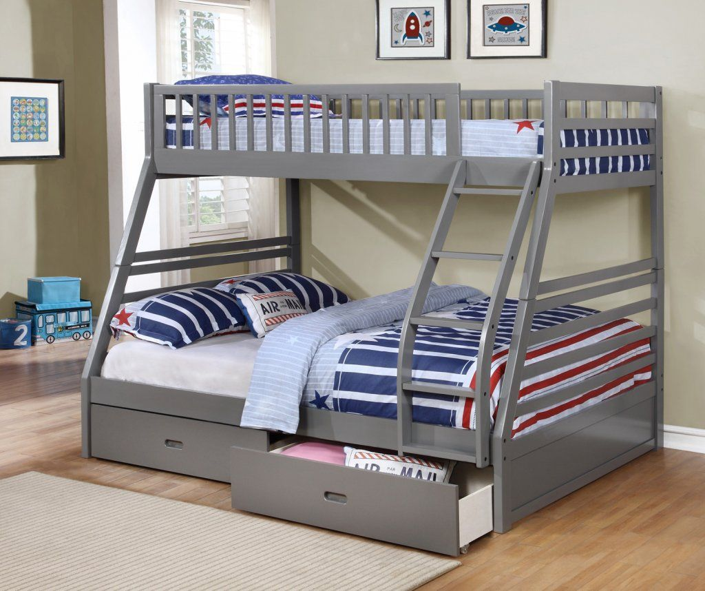 Bunk Beds With Storage Space Fraser Iii Grey Twin Over Full Bunk Bed With Storage
