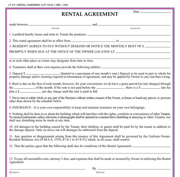 Printable Sample Rental Application Forms Form Real Estate Forms - lease application form