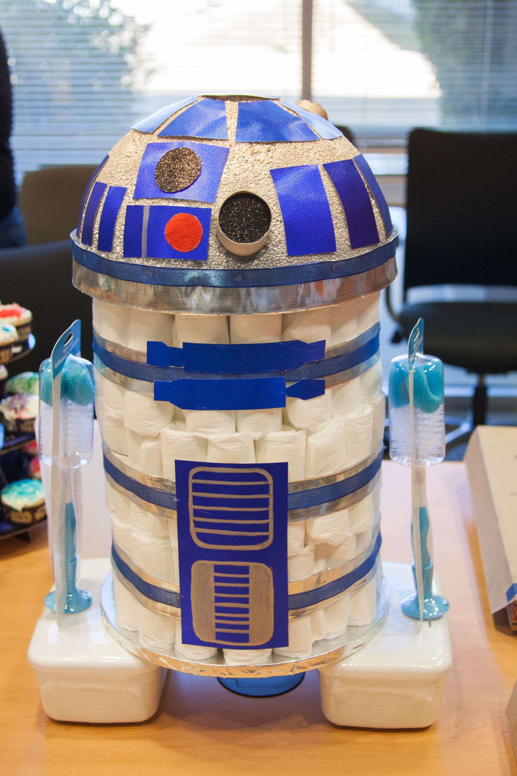 Star Themed Gifts R2d2 Diaper Cake For Star Wars Themed Baby Shower Nerd