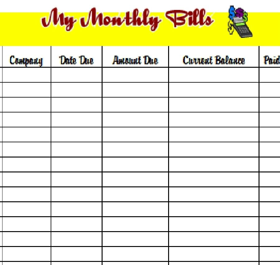 Download the PDF template and keep track of your monthly bills - bills template free