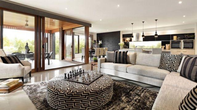 wohnzimmer gestalten ideen teppich shaggy beistelltisch-gepolstert - muster wohnzimmer