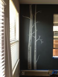 My new DIY birch tree mural dining room wall! So easy, I ...