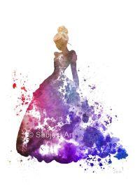 Cinderella ART PRINT illustration, Disney, Princess, Wall ...