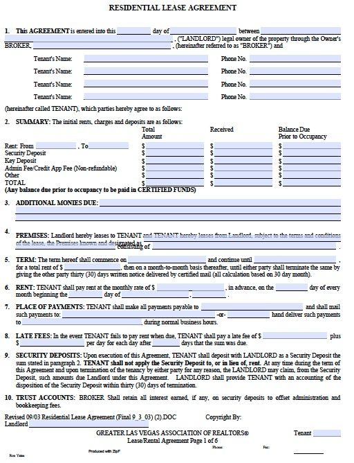 Printable Lease Agreement Sample Lease Forms Free Print Printable - printable lease agreement sample