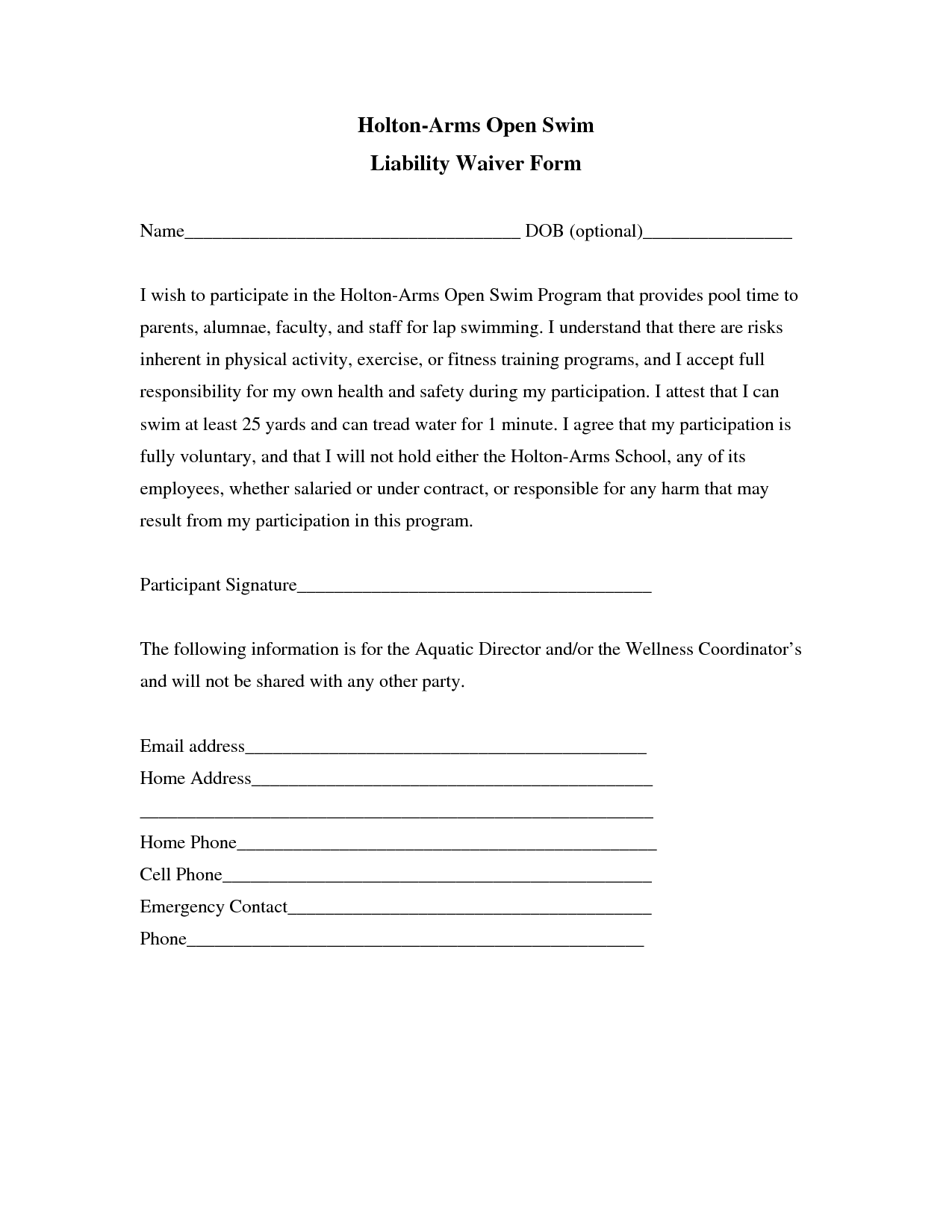 Volunteer Release And Waiver Of Liability Form Liability Insurance Liability Insurance Waiver Template